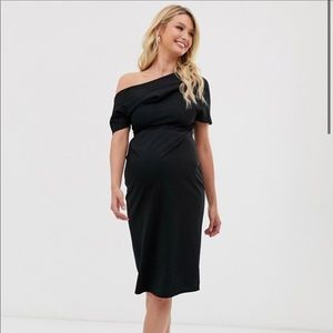 Maternity pleated shoulder pencil dress